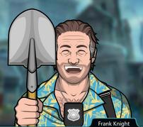 Frank Sosteniendo una pala
