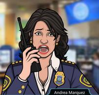 Andrea Hablando por un walkie-talkie