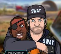 Frank Reteniendo a Papa Quansah