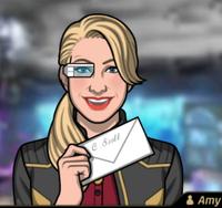 Amy con una carta
