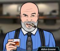 Alden tomando whisky