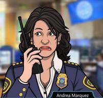 Andrea asustada con un Walkie-talkie
