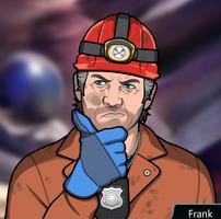 Frank con un traje con guantes azules