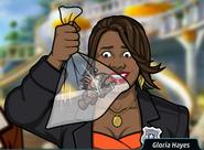 Gloria Sosteniendo un pez demoniaco en una bolsa2