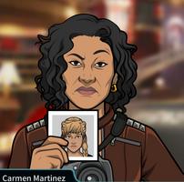 Carmen con una foto de Constanza