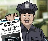 Ramirez Sosteniendo un periódico que habla del Rorschach Reaper