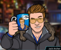 Jack sosteniendo una taza de Archer