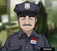 Ramirez Ramirez, vistiendo una insignia de VOTÉ