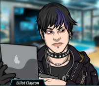 Elliot con su laptop pensando