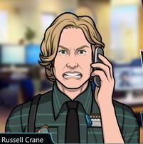 Russell Con el teléfono, molesto