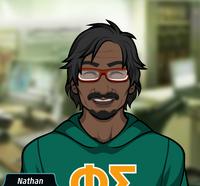 Nathan Usando una sudadera verde