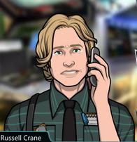Russell Con lágrimas en los ojos y el telefono