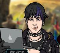 Elliot con su laptop sonriendo