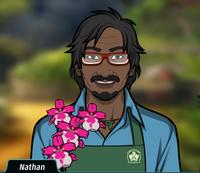 Nathan Con flores en la mano