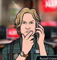 Russell Con el teléfono, pensando