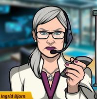 Ingrid con un control remoto
