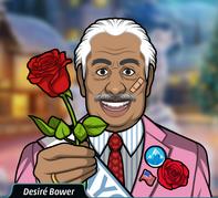 Desirè ofreciendole una rosa a Amy y al jugador en el dia del Amor al Pueblo
