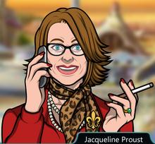 Jacqueline hablando por telefono