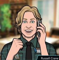 Russell en el teléfono alegre