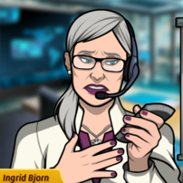 Ingrid con un control remoto, triste