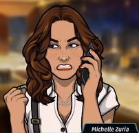 Michelle en el teléfono determinada