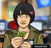 Hannah Regalando una Rosa