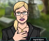 Ingrid con un traje funerario