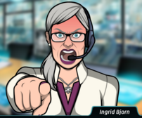 Ingrid Apuntando con su dedo