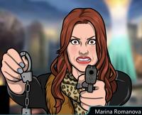 Marina Con su pistola y unas esposas