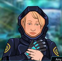Amy Quitandose el Guante Tecnologico