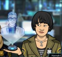 Hannah Con una máquina de hologramas