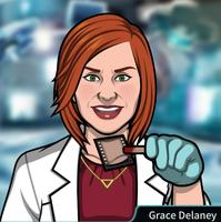 Grace con un microfilm