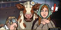 Charles ordeñando una vaca
