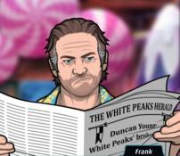 Frank Leeyendo el periódico