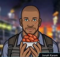 Jonah con un plato de dátiles