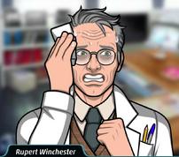 Rupert Sosteniendo un pañuelo, agitado.