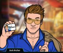 Jack mostrando su tarjeta