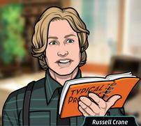 20 Russell leeyendo su libro llamado ¨Perfiles Tipicos¨