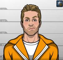 Brice LeBeau con uniforme de prisión