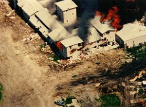 The Mount Carmel Center engulfed in flames on April 19, 1993