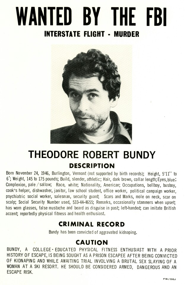 Bundy Wanted Poster  Criminal Wanted Poster