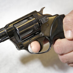 The 38 revolver used by <a href=