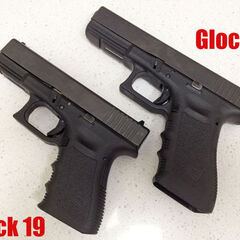 A Glock 17 (top) and Glock 19 (bottom).