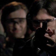 Hotch firing the Glock 17 at the firing range in