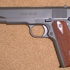 An M1911 pistol designed by Springfield Armory, Inc.