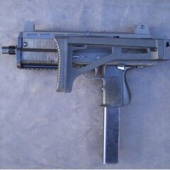 A MAC-10 with its stock retracted.