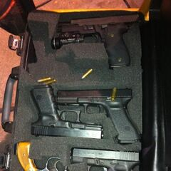 A case full of prop weapons used on <a href=