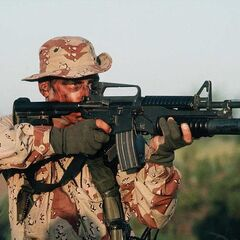 An M4 being used by a soldier.