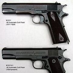 Comparison of the M1911 and the M1911A1 pistols.