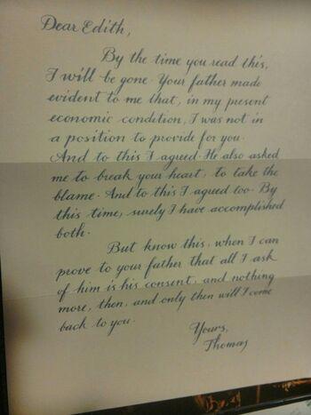Lettre de Thomas à Edith